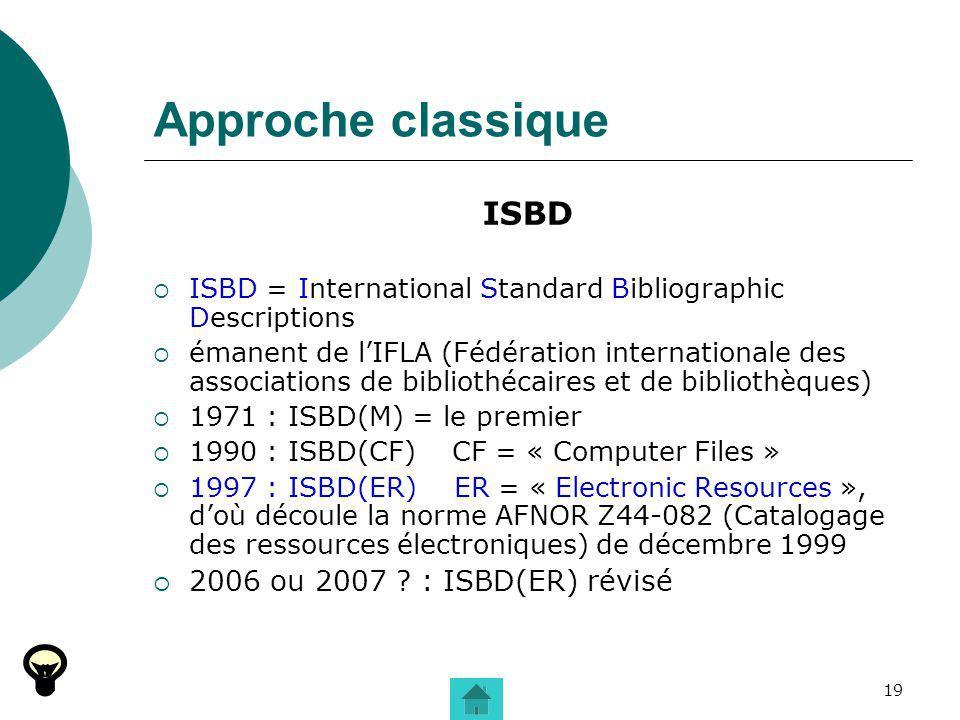 19 Approche classique ISBD ISBD = International Standard Bibliographic Descriptions émanent de lIFLA (Fédération internationale des associations de bi