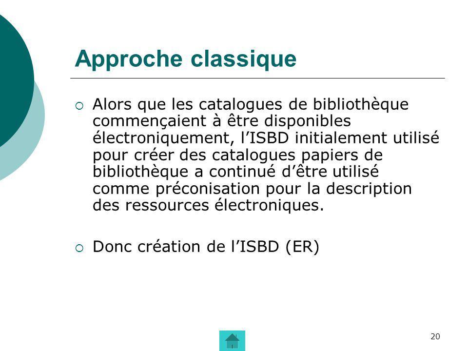 20 Approche classique Alors que les catalogues de bibliothèque commençaient à être disponibles électroniquement, lISBD initialement utilisé pour créer
