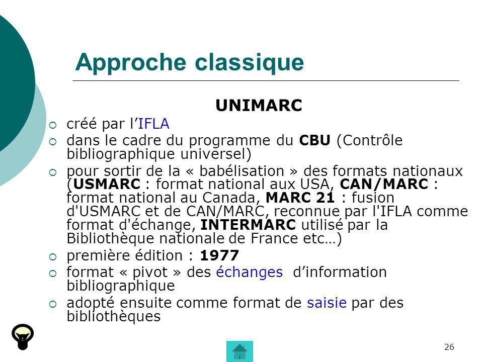 26 Approche classique UNIMARC créé par lIFLA dans le cadre du programme du CBU (Contrôle bibliographique universel) pour sortir de la « babélisation »