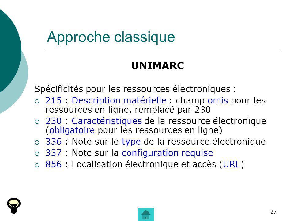 27 Approche classique UNIMARC Spécificités pour les ressources électroniques : 215 : Description matérielle : champ omis pour les ressources en ligne,