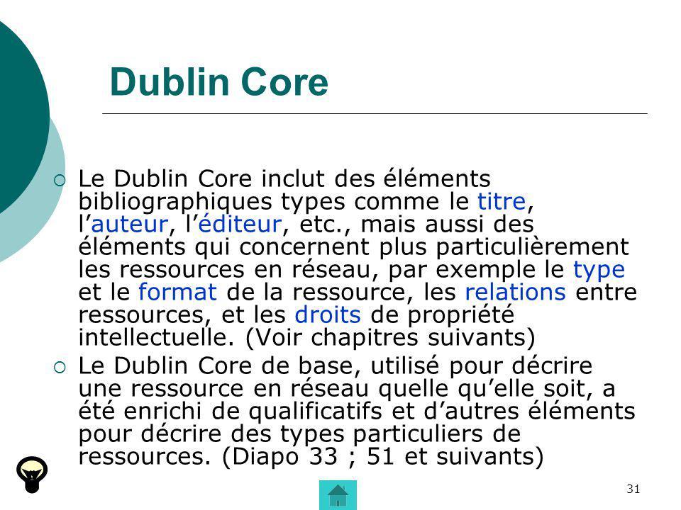 31 Dublin Core Le Dublin Core inclut des éléments bibliographiques types comme le titre, lauteur, léditeur, etc., mais aussi des éléments qui concerne