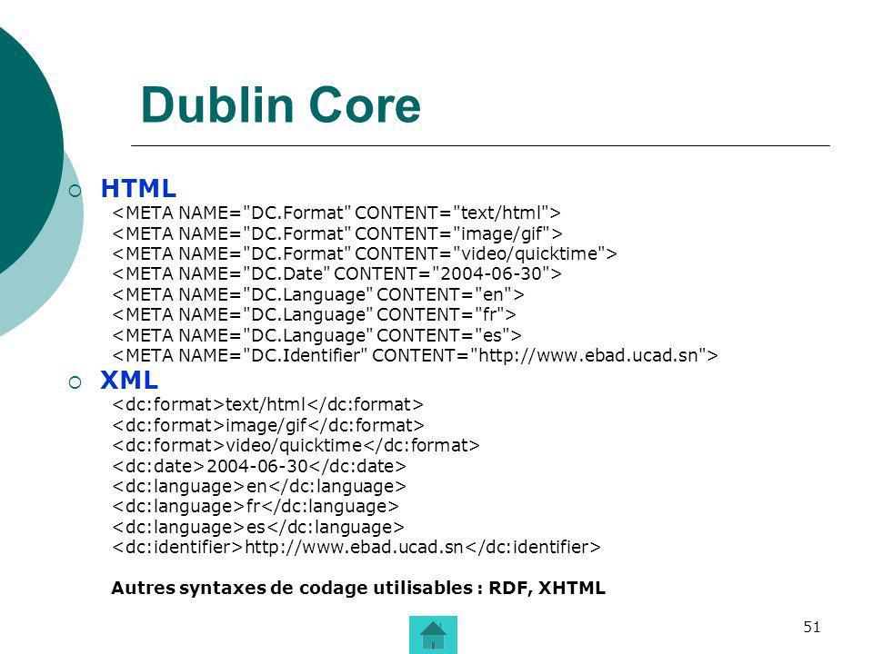 51 Dublin Core HTML XML text/html image/gif video/quicktime 2004-06-30 en fr es http://www.ebad.ucad.sn Autres syntaxes de codage utilisables : RDF, X