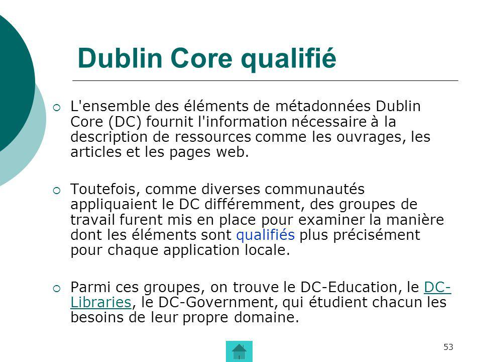 53 Dublin Core qualifié L'ensemble des éléments de métadonnées Dublin Core (DC) fournit l'information nécessaire à la description de ressources comme