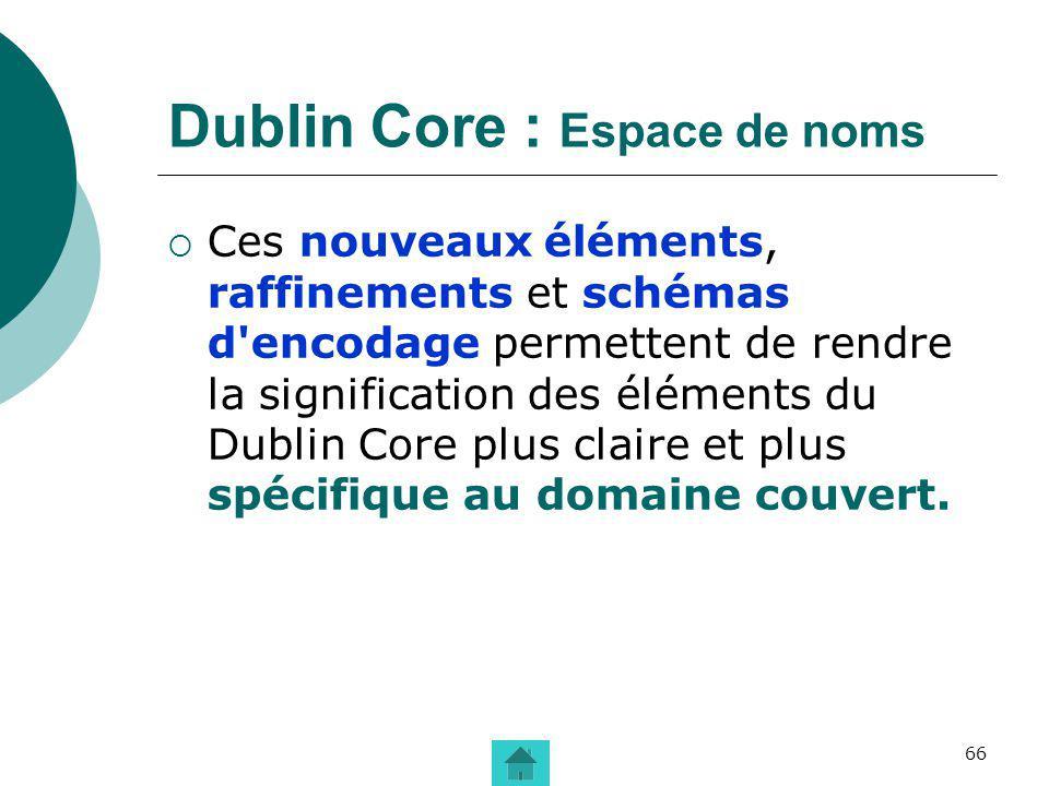 66 Dublin Core : Espace de noms Ces nouveaux éléments, raffinements et schémas d'encodage permettent de rendre la signification des éléments du Dublin