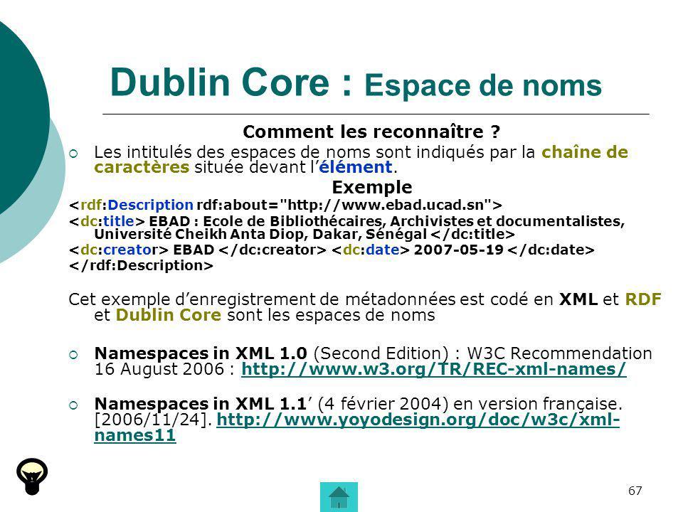 67 Dublin Core : Espace de noms Comment les reconnaître ? Les intitulés des espaces de noms sont indiqués par la chaîne de caractères située devant lé
