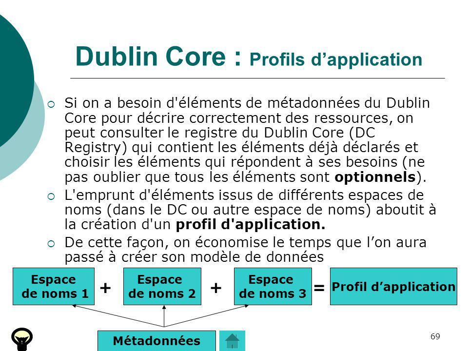 69 Dublin Core : Profils dapplication Si on a besoin d'éléments de métadonnées du Dublin Core pour décrire correctement des ressources, on peut consul