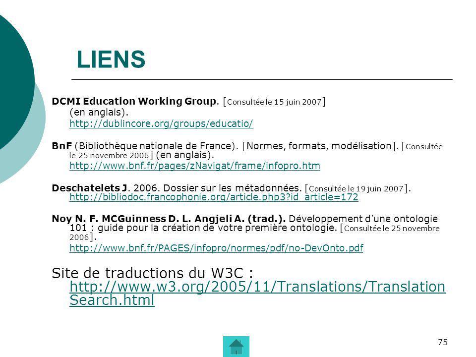 75 LIENS DCMI Education Working Group. [ Consultée le 15 juin 2007 ] (en anglais). http://dublincore.org/groups/educatio/ BnF (Bibliothèque nationale