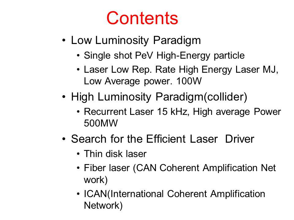 Contents Low Luminosity Paradigm Single shot PeV High-Energy particle Laser Low Rep. Rate High Energy Laser MJ, Low Average power. 100W High Luminosit