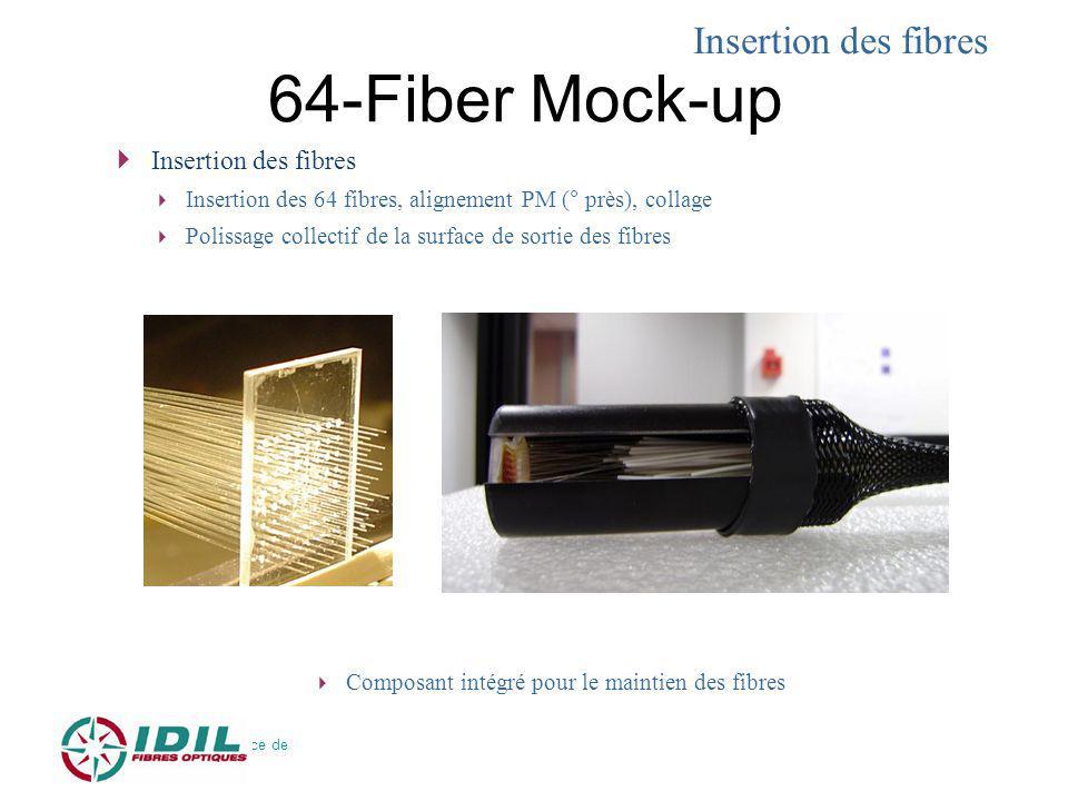 64-Fiber Mock-up 31 Mai 2010 – Soutenance de thèse – C. Bellanger Insertion des fibres Insertion des 64 fibres, alignement PM (° près), collage Poliss