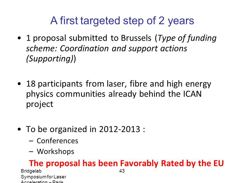 Bridgelab Symposium for Laser Acceleration – Paris, January 14, 2011 – Matthieu Somekh 43 1 proposal submitted to Brussels (Type of funding scheme: Co