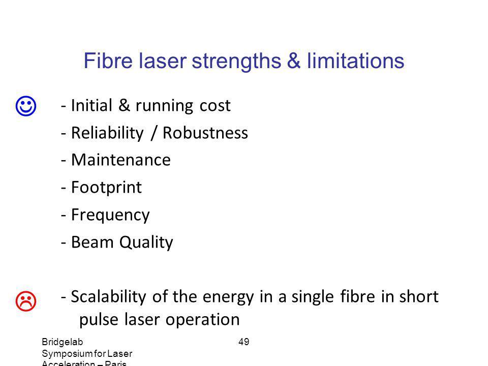 Bridgelab Symposium for Laser Acceleration – Paris, January 14, 2011 – Matthieu Somekh 49 Fibre laser strengths & limitations - Initial & running cost