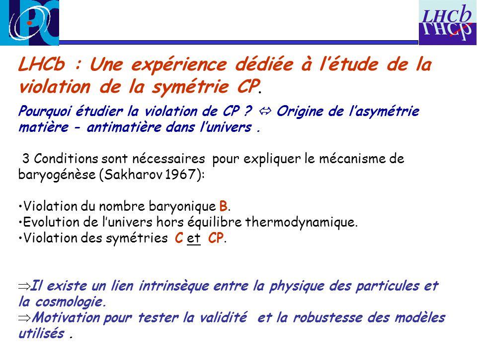 LHCb : Une expérience dédiée à létude de la violation de la symétrie CP. Pourquoi étudier la violation de CP ? Origine de lasymétrie matière - antimat