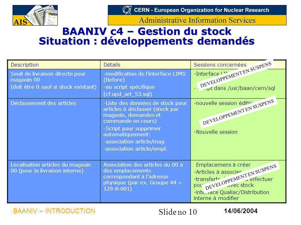Slide no 10 14/06/2004BAANIV – INTRODUCTION BAANIV c4 – Gestion du stock Situation : développements demandés DescriptionDétailsSessions concernées Seu