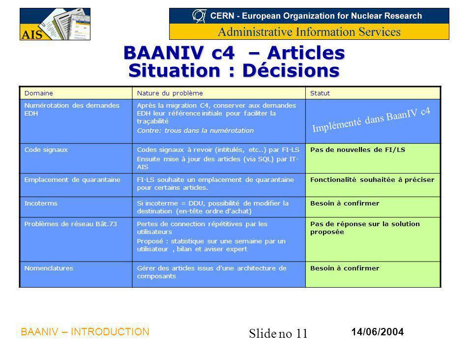 Slide no 11 14/06/2004BAANIV – INTRODUCTION BAANIV c4 – Articles Situation : Décisions DomaineNature du problèmeStatut Numérotation des demandes EDH A