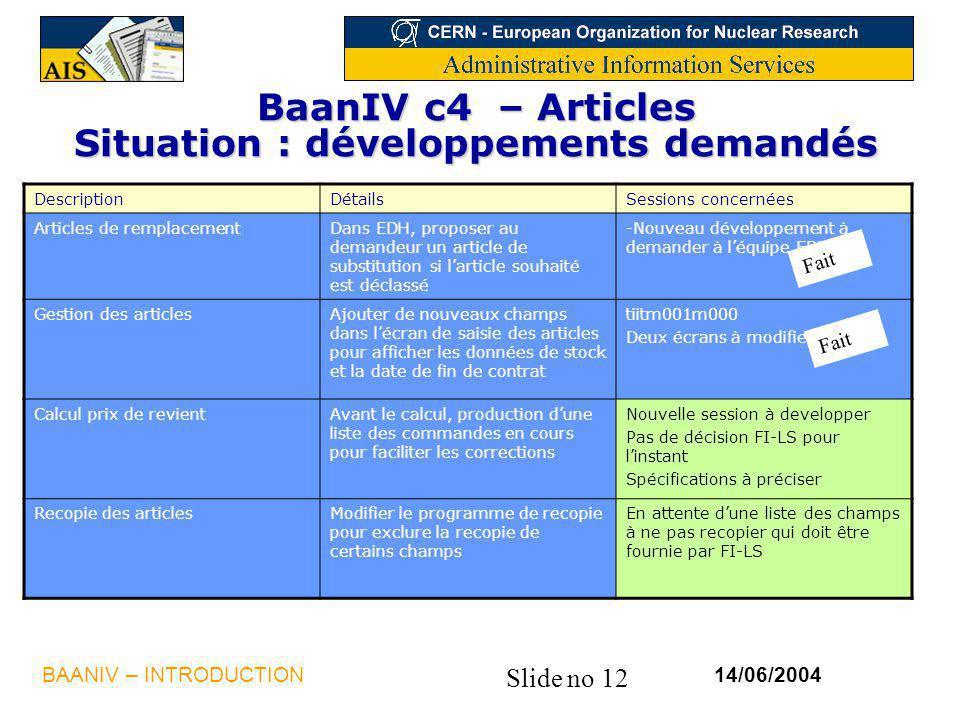 Slide no 12 14/06/2004BAANIV – INTRODUCTION BaanIV c4 – Articles Situation : développements demandés DescriptionDétailsSessions concernées Articles de
