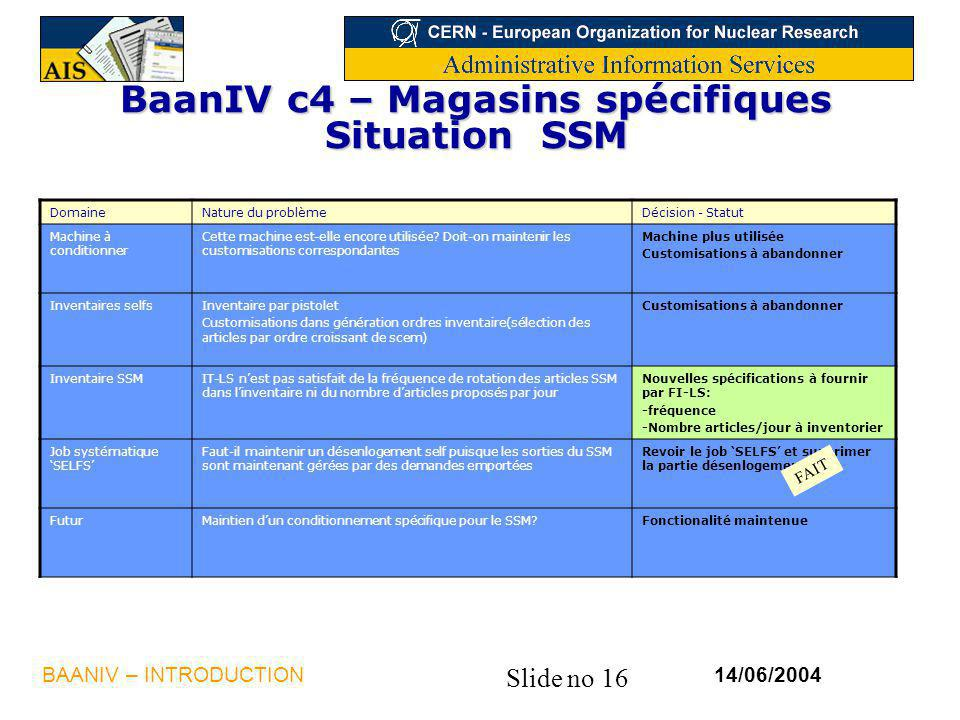 Slide no 16 14/06/2004BAANIV – INTRODUCTION BaanIV c4 – Magasins spécifiques Situation SSM DomaineNature du problèmeDécision - Statut Machine à conditionner Cette machine est-elle encore utilisée.