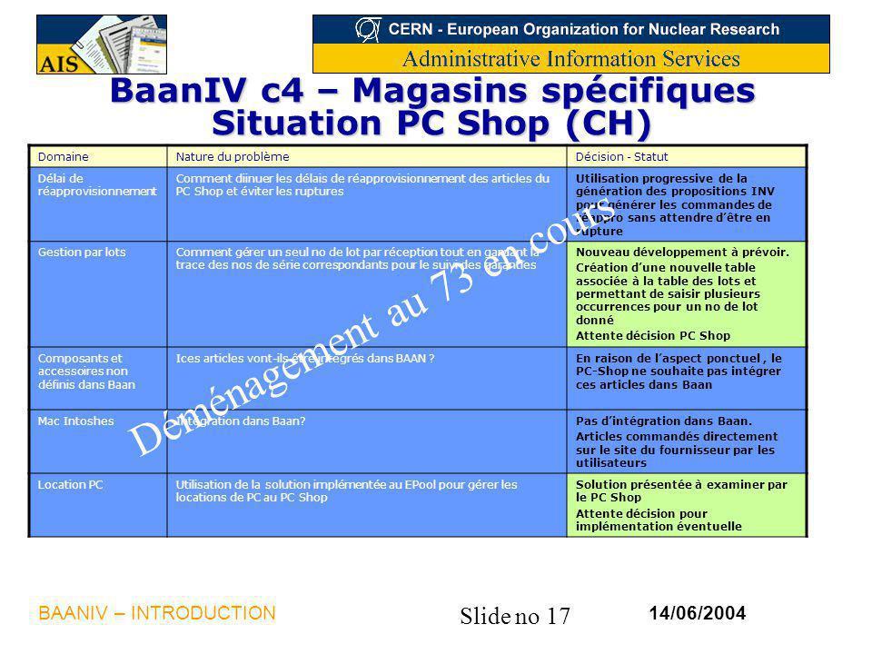Slide no 17 14/06/2004BAANIV – INTRODUCTION BaanIV c4 – Magasins spécifiques Situation PC Shop (CH) DomaineNature du problèmeDécision - Statut Délai d