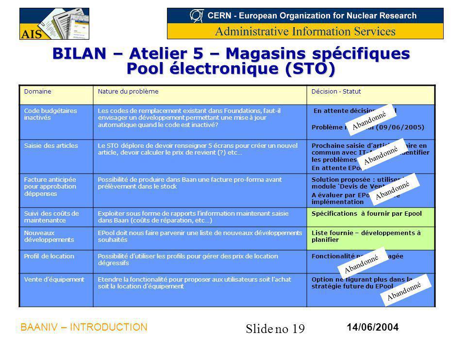 Slide no 19 14/06/2004BAANIV – INTRODUCTION BILAN – Atelier 5 – Magasins spécifiques Pool électronique (STO) DomaineNature du problèmeDécision - Statut Code budgétaires inactivés Les codes de remplacement existant dans Foundations, faut-il envisager un développement permettant une mise à jour automatique quand le code est inactivé.