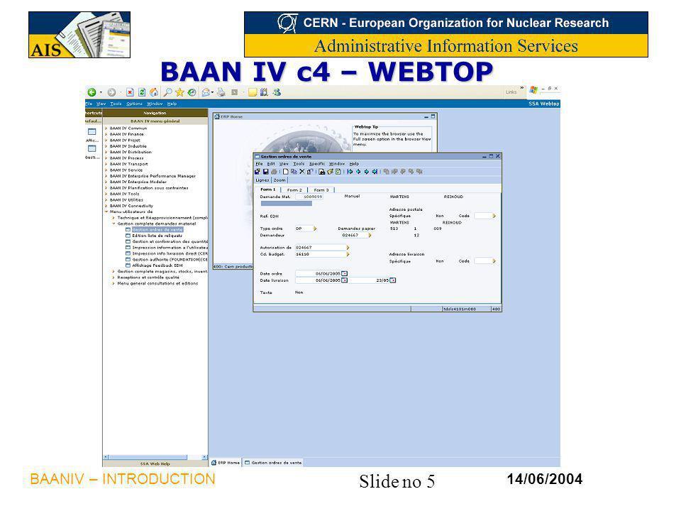 Slide no 5 14/06/2004BAANIV – INTRODUCTION BAAN IV c4 – WEBTOP