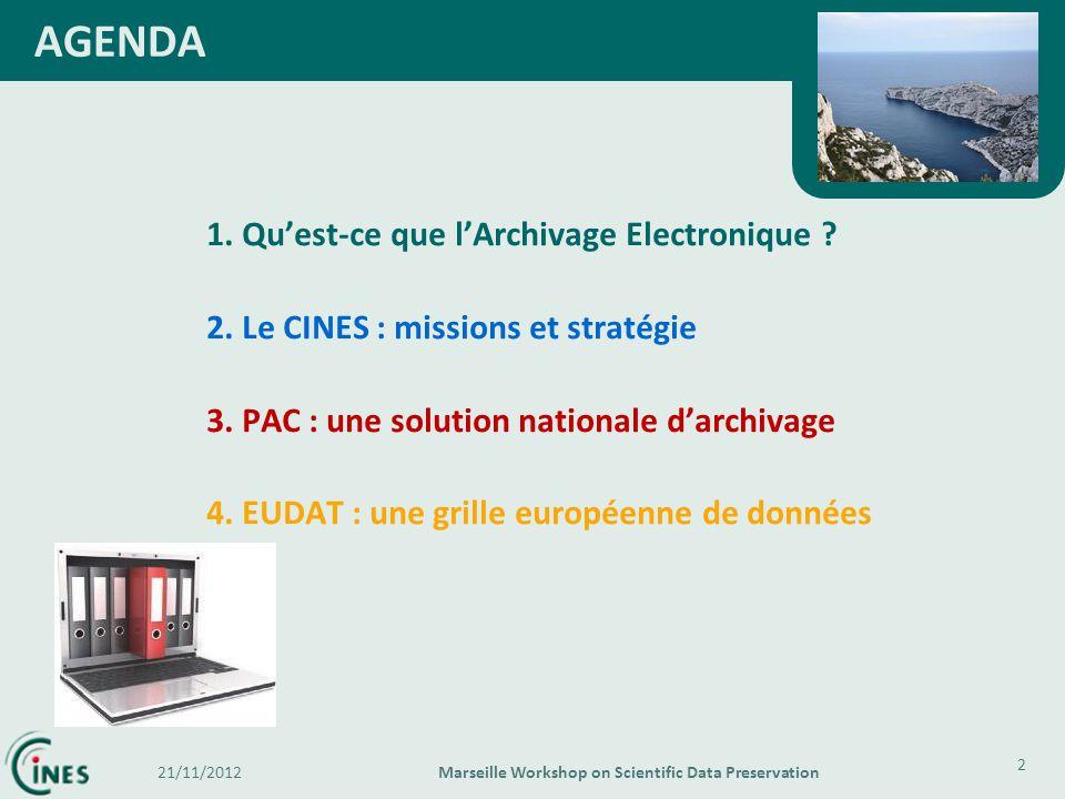 1. Quest-ce que lArchivage Electronique ? 2. Le CINES : missions et stratégie 3. PAC : une solution nationale darchivage 4. EUDAT : une grille europée