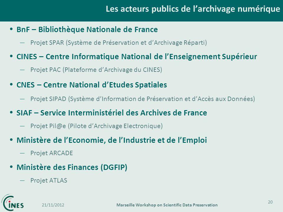 BnF – Bibliothèque Nationale de France – Projet SPAR (Système de Préservation et dArchivage Réparti) CINES – Centre Informatique National de lEnseigne