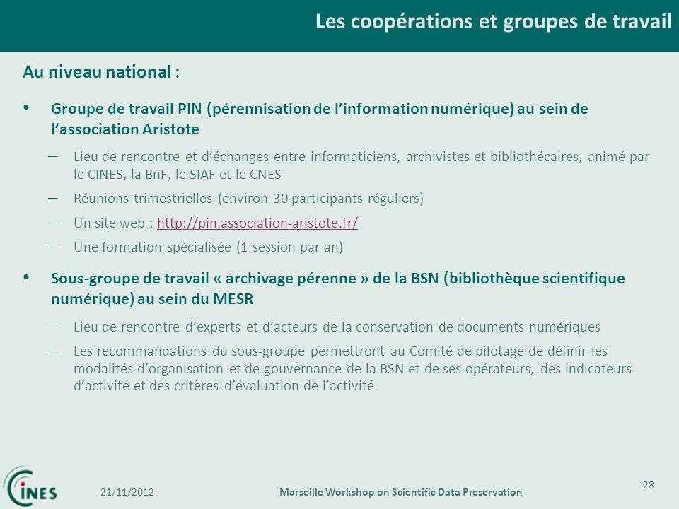 Au niveau national : Groupe de travail PIN (pérennisation de linformation numérique) au sein de lassociation Aristote – Lieu de rencontre et déchanges