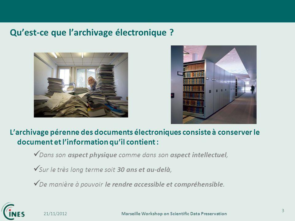 Quest-ce que larchivage électronique ? Larchivage pérenne des documents électroniques consiste à conserver le document et linformation quil contient :