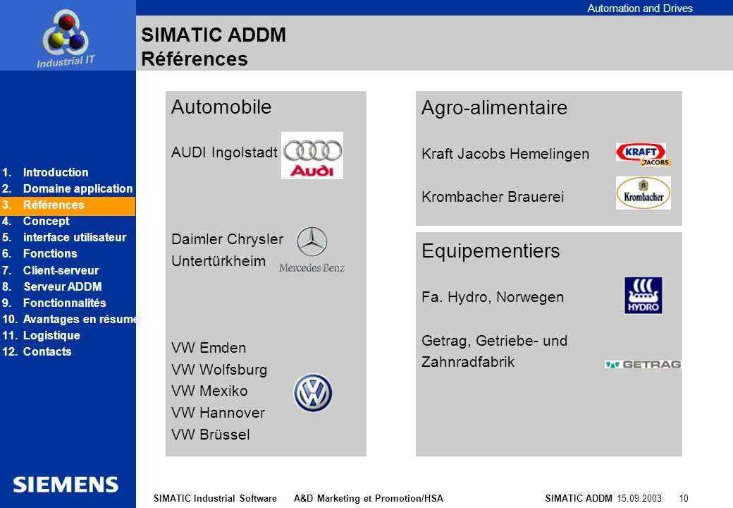 Automation and Drives SIMATIC ADDM 15.09.2003 10SIMATIC Industrial Software A&D Marketing et Promotion/HSA Automobile AUDI Ingolstadt Daimler Chrysler