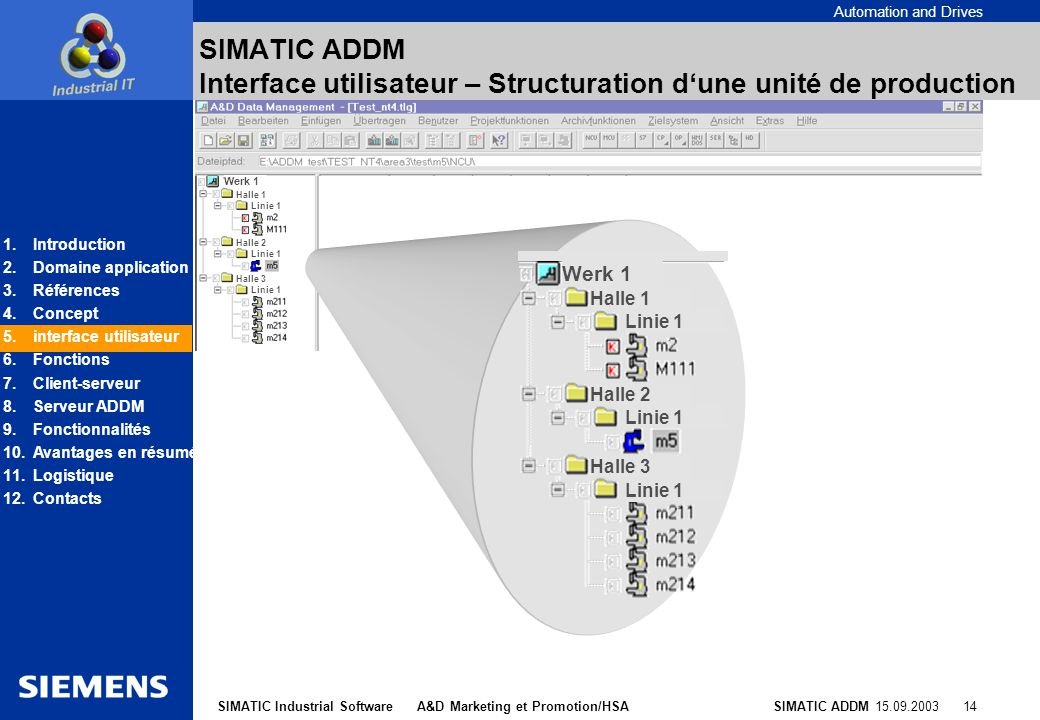 Automation and Drives SIMATIC ADDM 15.09.2003 14SIMATIC Industrial Software A&D Marketing et Promotion/HSA SIMATIC ADDM Interface utilisateur – Struct