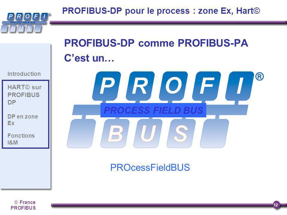 ©France PROFIBUS 12 Introduction HART© sur PROFIBUS DP DP en zone Ex Fonctions I&M PROFIBUS-DP comme PROFIBUS-PA Cest un… PROcessFieldBUS PROCESS FIEL