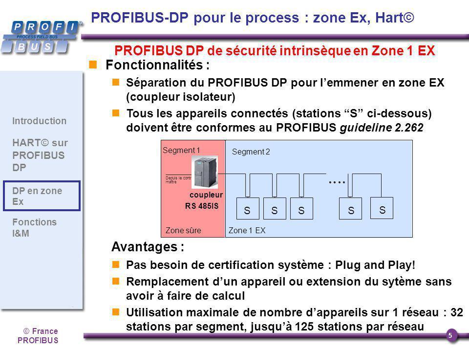 ©France PROFIBUS 5 Introduction HART© sur PROFIBUS DP DP en zone Ex Fonctions I&M PROFIBUS DP de sécurité intrinsèque en Zone 1 EX Fonctionnalités : S