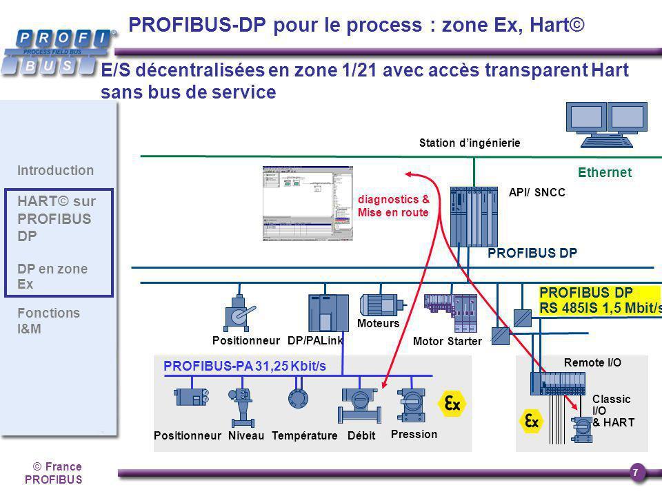 ©France PROFIBUS 7 Introduction HART© sur PROFIBUS DP DP en zone Ex Fonctions I&M API/ SNCC Ethernet Température Classic I/O & HART PROFIBUS-PA 31,25