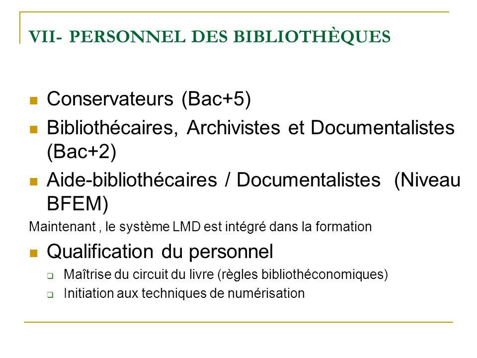 VII- PERSONNEL DES BIBLIOTHÈQUES Conservateurs (Bac+5) Bibliothécaires, Archivistes et Documentalistes (Bac+2) Aide-bibliothécaires / Documentalistes