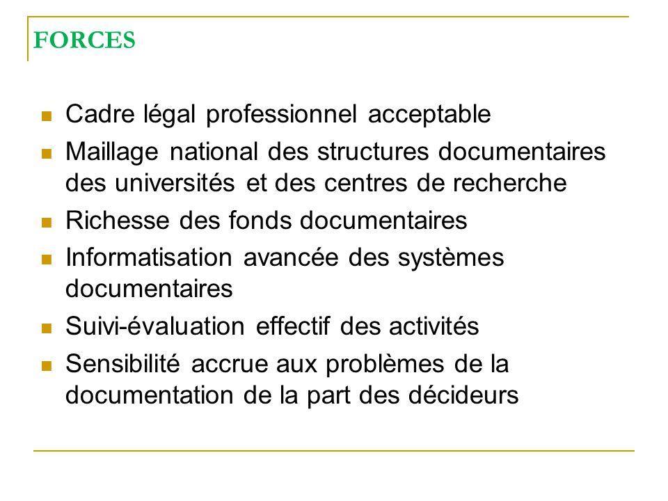 FORCES Cadre légal professionnel acceptable Maillage national des structures documentaires des universités et des centres de recherche Richesse des fo