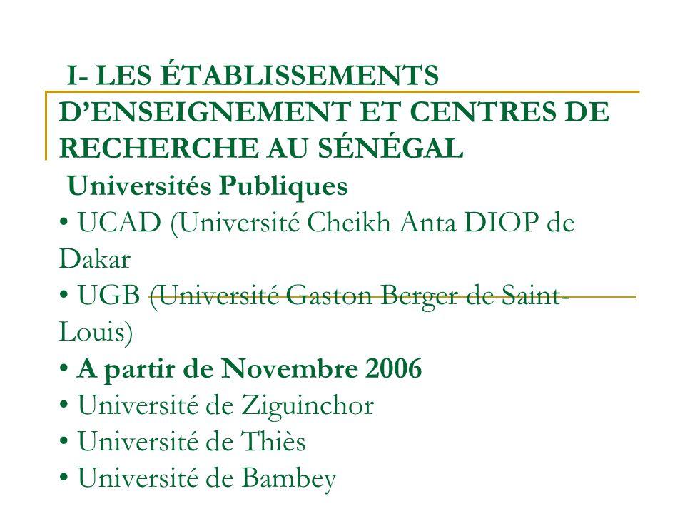 I- LES ÉTABLISSEMENTS DENSEIGNEMENT ET CENTRES DE RECHERCHE AU SÉNÉGAL Universités Publiques UCAD (Université Cheikh Anta DIOP de Dakar UGB (Universit
