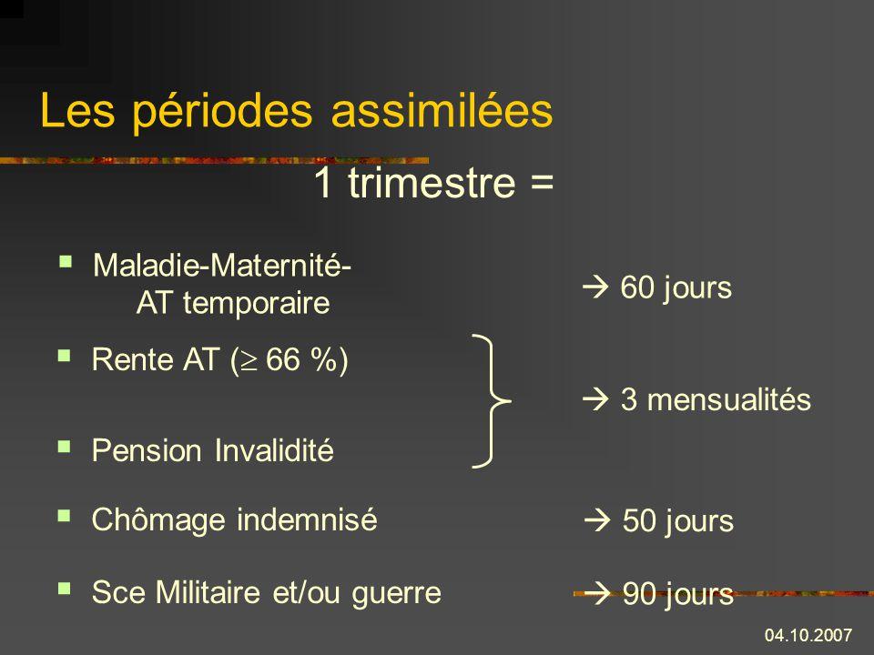 04.10.2007 La retraite anticipée carrières longues 01.01.2004 01.12.2008