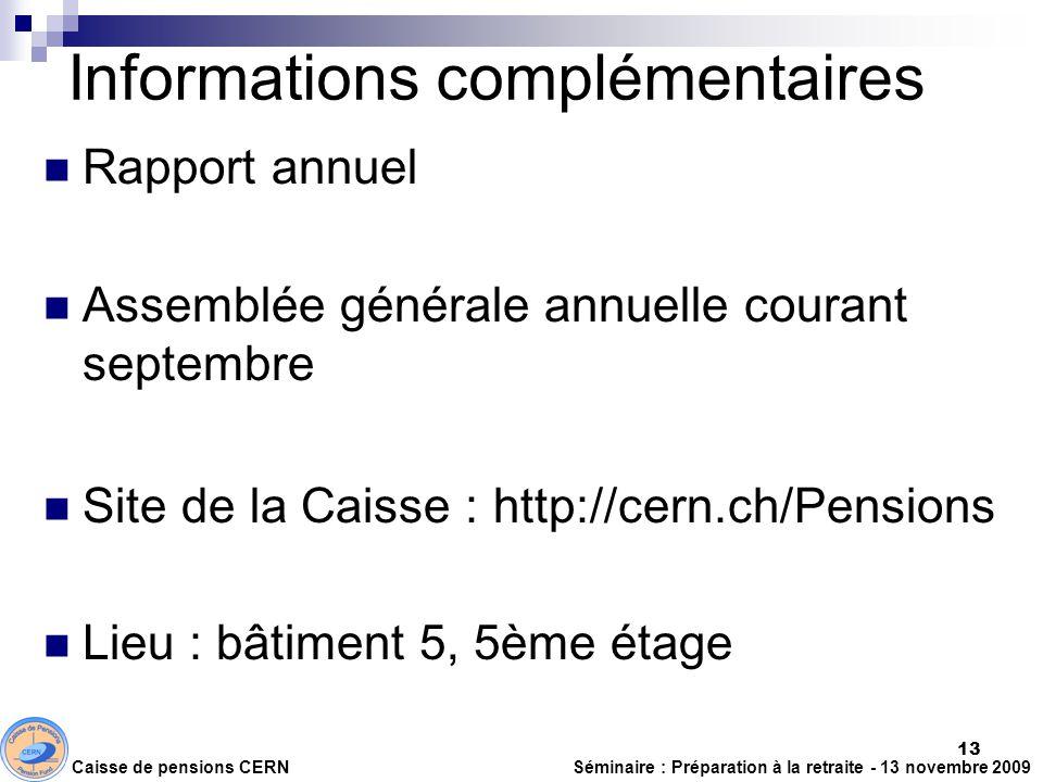 Informations complémentaires Rapport annuel Assemblée générale annuelle courant septembre Site de la Caisse : http://cern.ch/Pensions Lieu : bâtiment