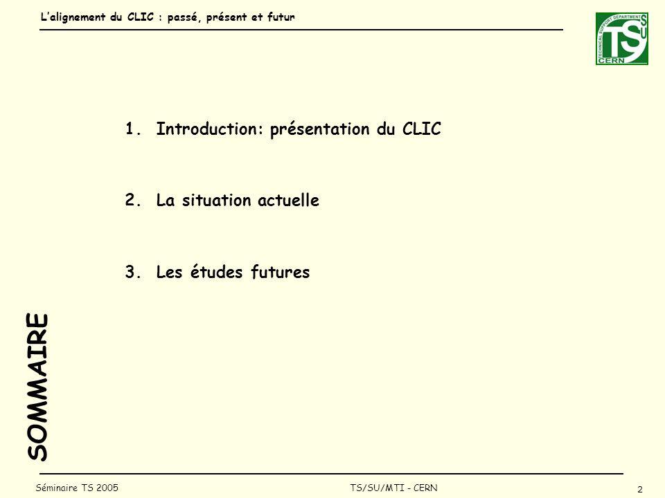 Lalignement du CLIC : passé, présent et futur 2 Séminaire TS 2005 TS/SU/MTI - CERN SOMMAIRE 1.