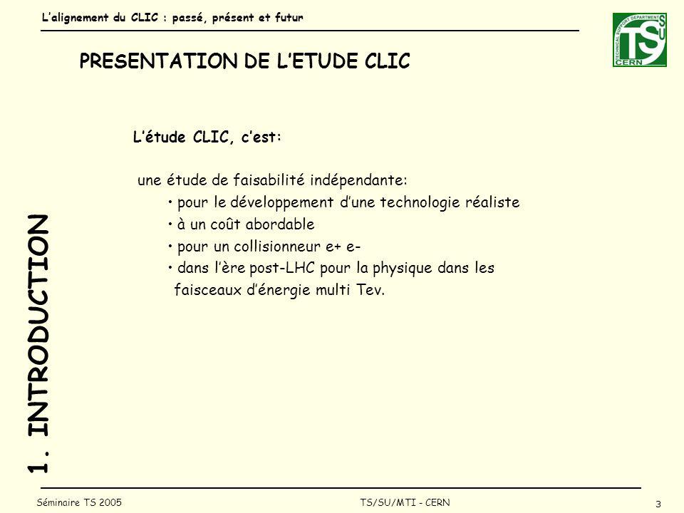 Lalignement du CLIC : passé, présent et futur 4 Séminaire TS 2005 TS/SU/MTI - CERN 1.