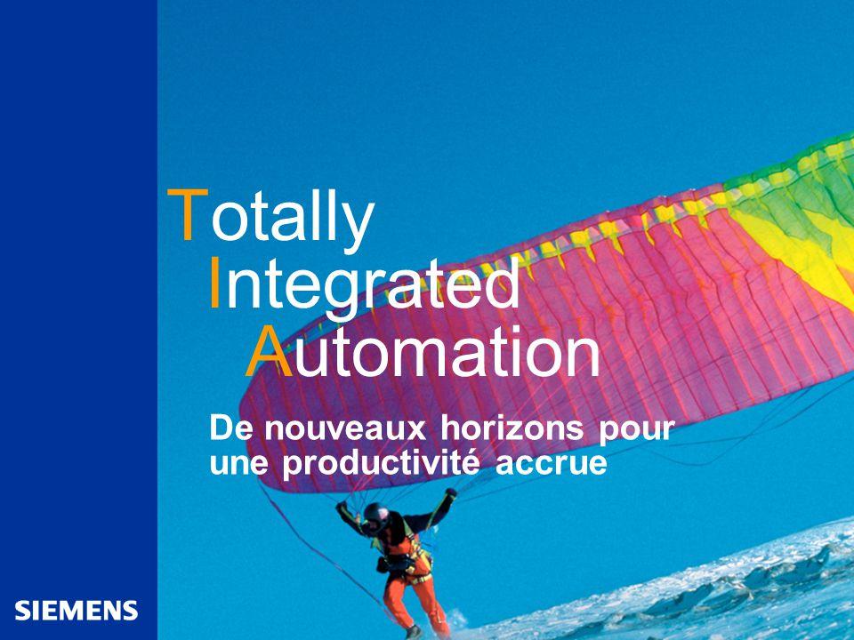 Automation and Drives De nouveaux horizons pour une productivité accrue Totally Integrated Automation
