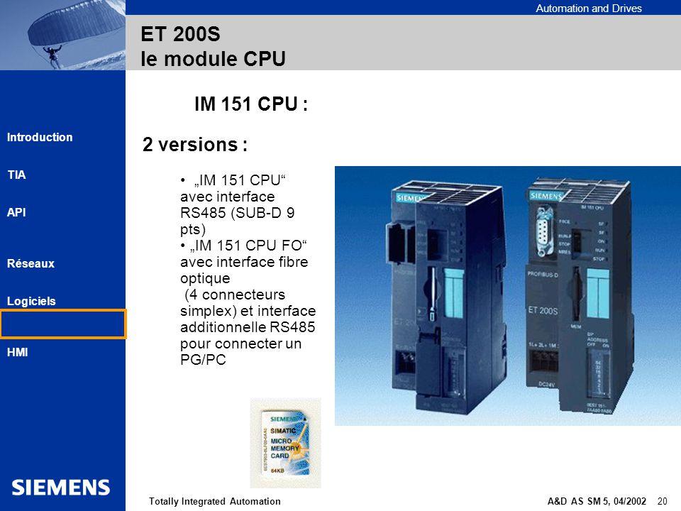 Automation and Drives A&D AS SM 5, 04/2002 20Totally Integrated Automation Introduction TIA API Réseaux Logiciels HMI ET 200S le module CPU IM 151 CPU