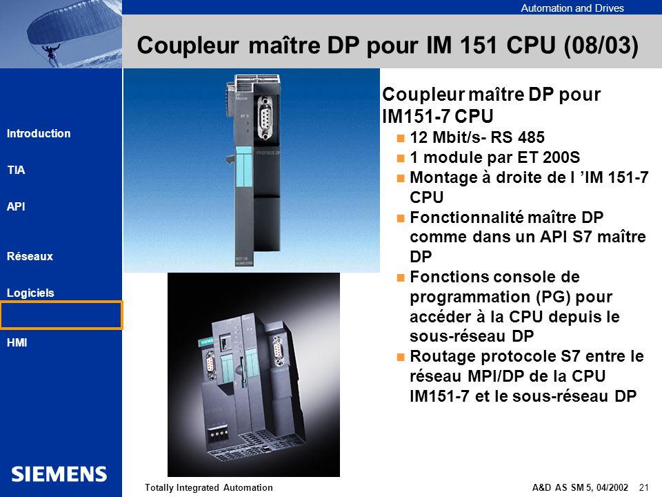 Automation and Drives A&D AS SM 5, 04/2002 21Totally Integrated Automation Introduction TIA API Réseaux Logiciels HMI Coupleur maître DP pour IM 151 C