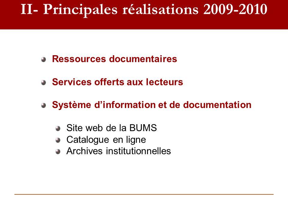 II- Principales réalisations 2009-2010 Ressources documentaires Services offerts aux lecteurs Système dinformation et de documentation Site web de la