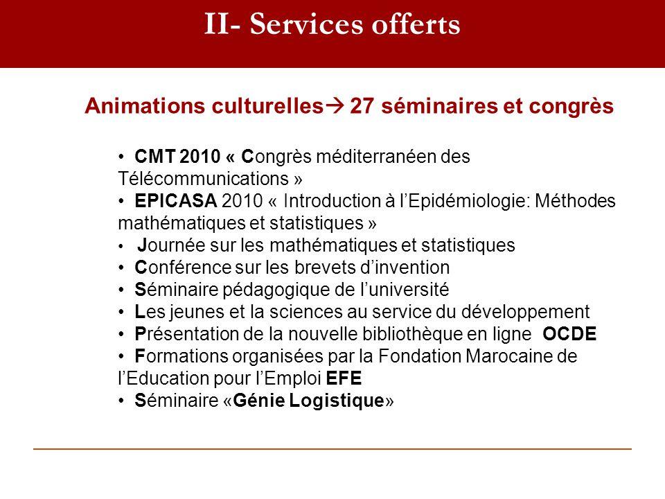 II- Services offerts Animations culturelles 27 séminaires et congrès CMT 2010 « Congrès méditerranéen des Télécommunications » EPICASA 2010 « Introduc
