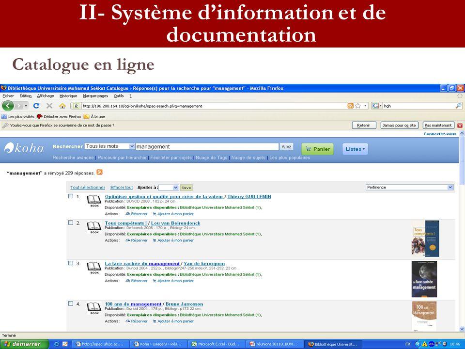 Catalogue en ligne II- Système dinformation et de documentation