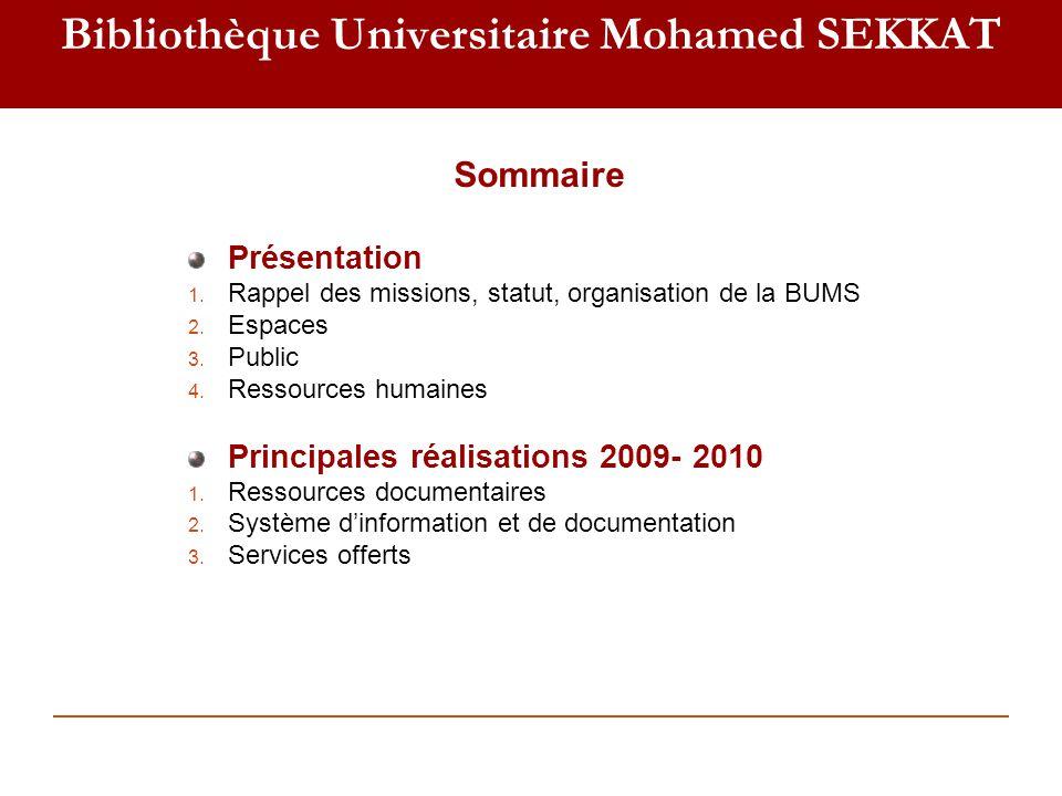 I- Présentation 1- Missions de la BUMS Accompagner lenseignement et la recherche universitaire Sauvegarder et valoriser le patrimoine culturel Coordonner le réseau des bibliothèques des établissements de luniversité Hassan II-Casablanca: Contribuer au développement culturel de la ville de Casablanca