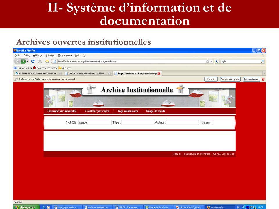Archives ouvertes institutionnelles II- Système dinformation et de documentation