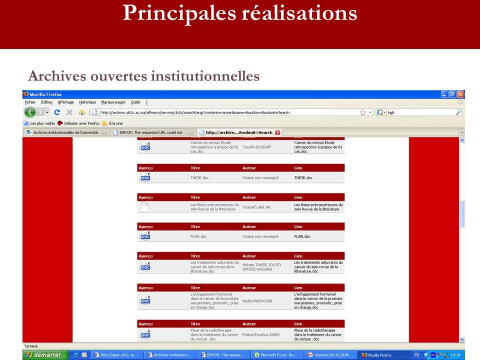 Archives ouvertes institutionnelles Principales réalisations