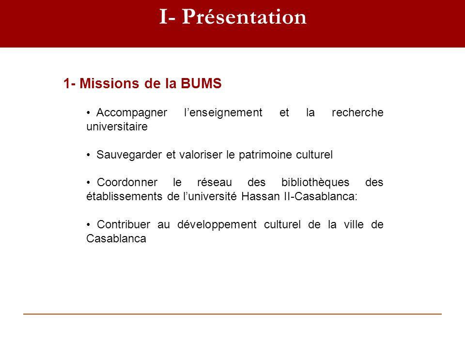 I- Présentation 1- Missions de la BUMS Accompagner lenseignement et la recherche universitaire Sauvegarder et valoriser le patrimoine culturel Coordon