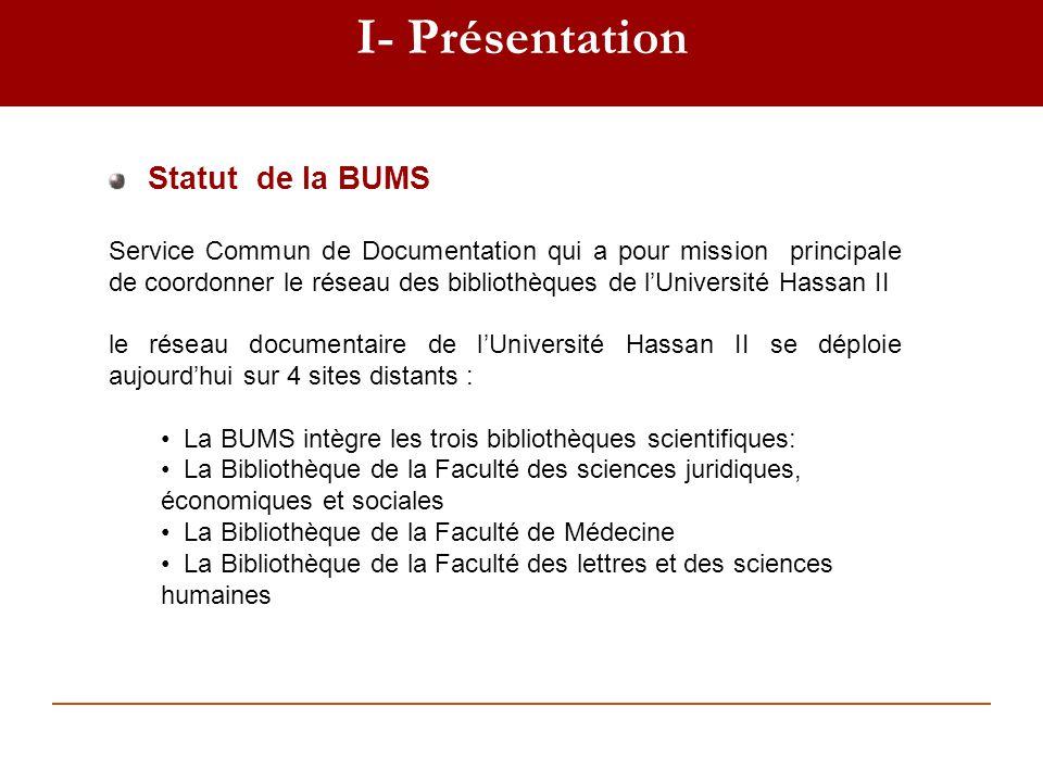 I- Présentation Statut de la BUMS Service Commun de Documentation qui a pour mission principale de coordonner le réseau des bibliothèques de lUniversi